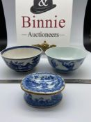 A Lot of three 19th century Chinese porcelain items. Includes two bowls and small ink pot.