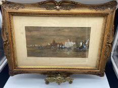 A 19th century framed watercolour depicting river scene. Fitted with an ornate gilt frame. [Frame