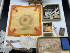 A selection of vintage Empire Exhibition Glasgow 1938 collectables to include handkerchief & money