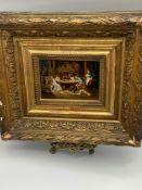 """Louis Auguste Georges Loustaunau (French, 1846-1898). """"Un mariage de raison"""". Oil on panel. Signed"""