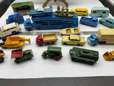 A Collection of vintage Matchbox Lesney Diecast models to include Newsagent stand and Esso fuel