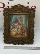 A Regency highly detailed miniature painting depicting lovers surrounded by cherubs. Signed R