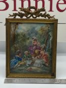 A Regency highly detailed miniature painting of three ladies and gentleman drinking and