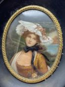 A late 18th/ Early 19th century miniature painting lady portrait. Titled 'La Raine Des Roses' Signed