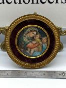 A Regency highly detailed miniature painting of Madonna della sedia. Signed D'Raphael. Fitted with a