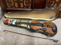 Antique Violin, Bow and carry case. The Bow has 'Made in France' Impressed.