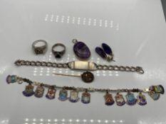 Birmingham silver I.D Bracelet, 925 silver charm bracelet with silver and enamel souvenir charms,