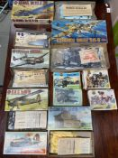 A Quantity of boxed military Airfix models. Includes Lockheed Hudson I, Control Tower, R.A.F.