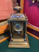 A Victorian highly decorative Brass and cloisonné mantel clock, Designed with bevelled glass