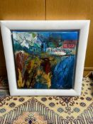 Original mixed media canvas depicting harbour scene signed Yvonne Hutchinson. Titled 'Crail
