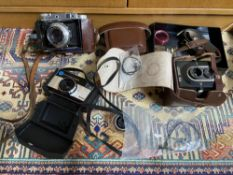 A Lot of vintage cameras to include Solido III Bellow camera
