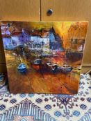 Original mixed media canvas depicting harbour scene signed Yvonne Hutchinson. Titled 'Straithes,