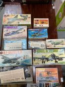 A Quantity of boxed military Airfix models and matchbox model kits. Includes Walrus MK-1, H.P