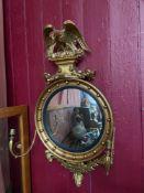 Antique Regency design convex mirror, Designed with original regency Eagle mounts, Wreaths and