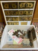 A Framed 24ct gold plated bank note set, Various old bank notes and various world coins.