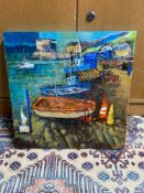 Original mixed media canvas depicting harbour scene signed Yvonne Hutchinson. Titled 'Blackness' [