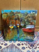 Original mixed media canvas depicting harbour scene signed Yvonne Hutchinson. Titled 'Crail Harbour'