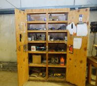 Wooden Cabinet and Contents
