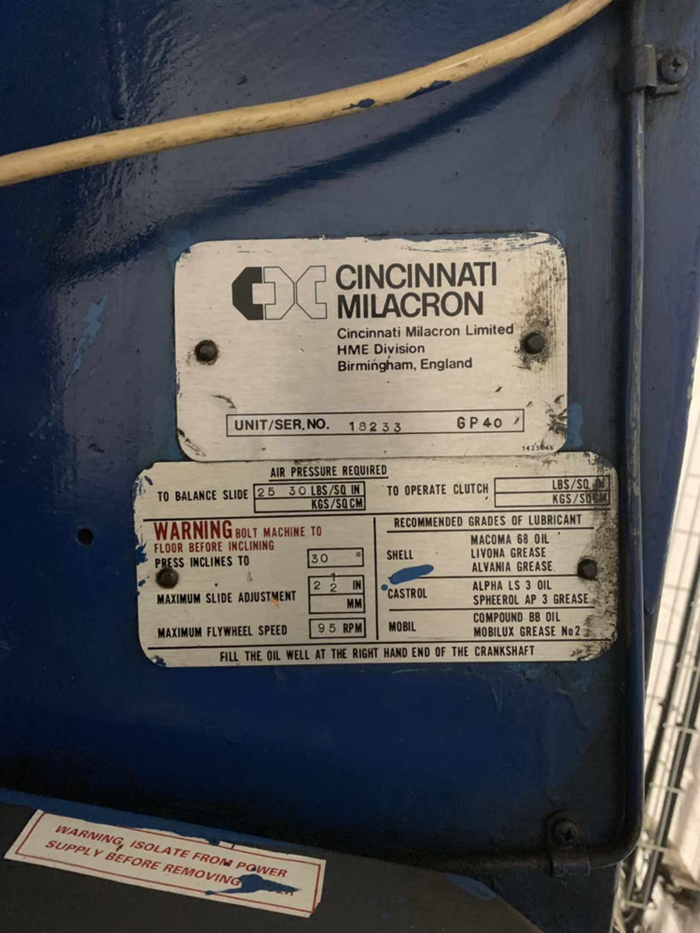 Lot 9 - HME Cincinnati GP40 Power Press. 40 Ton Capacity.