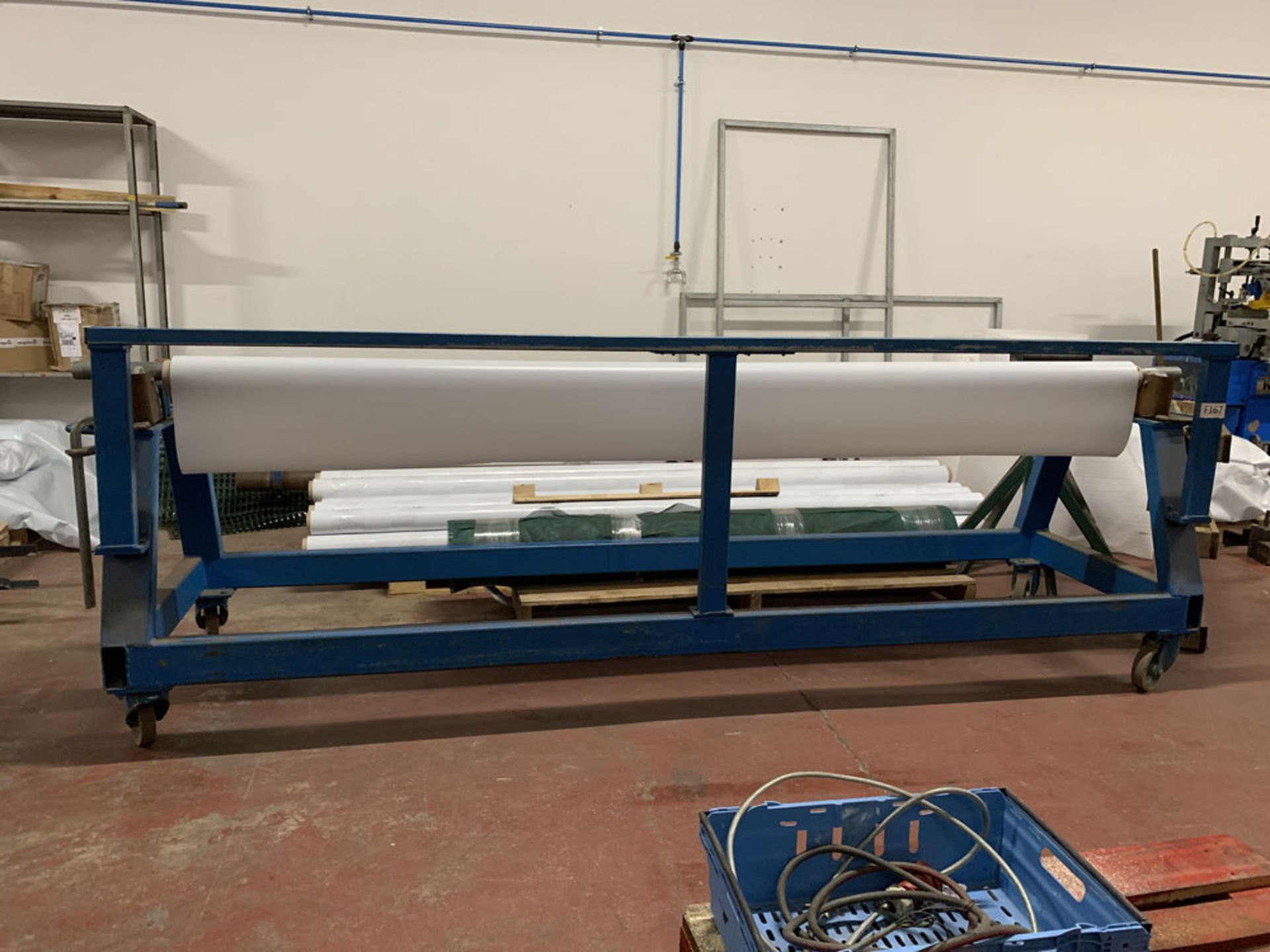 """Lot 14 - Mobile Material roller with cutting off rest. 10' (120"""") maximum material length."""