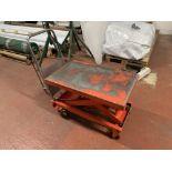 Mobile Scissor Trolley. Maximum Capacity 500kg