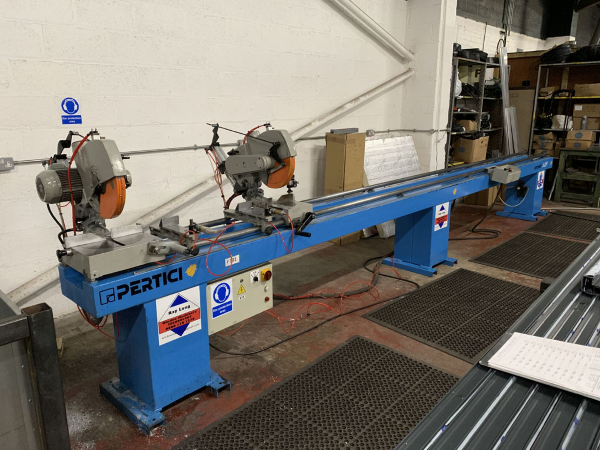 Lot 27 - Pertici Univer Model 332P Twin Headed Mitering Sawing Machine.
