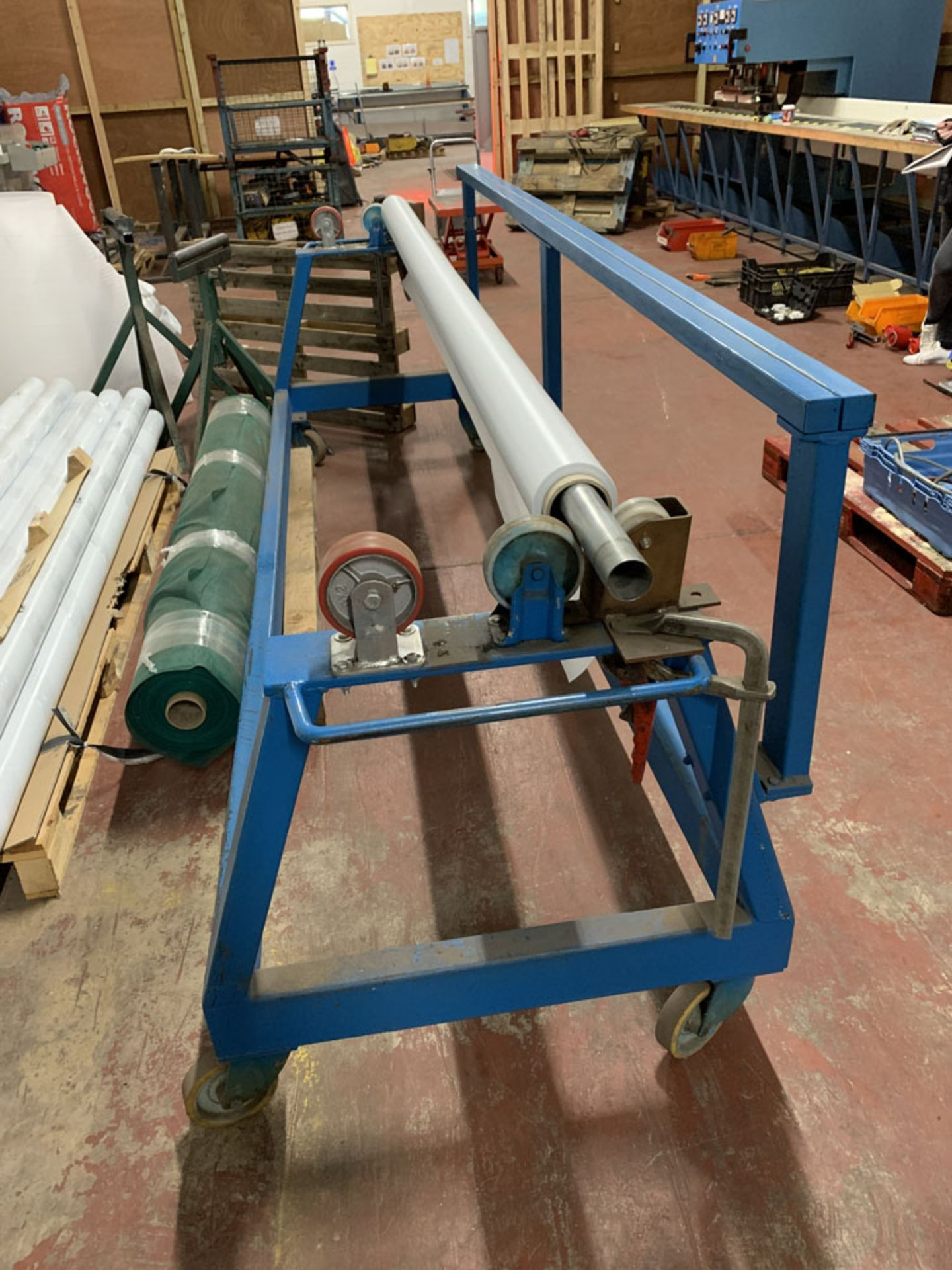 "Lot 14 - Mobile Material roller with cutting off rest. 10' (120"") maximum material length."