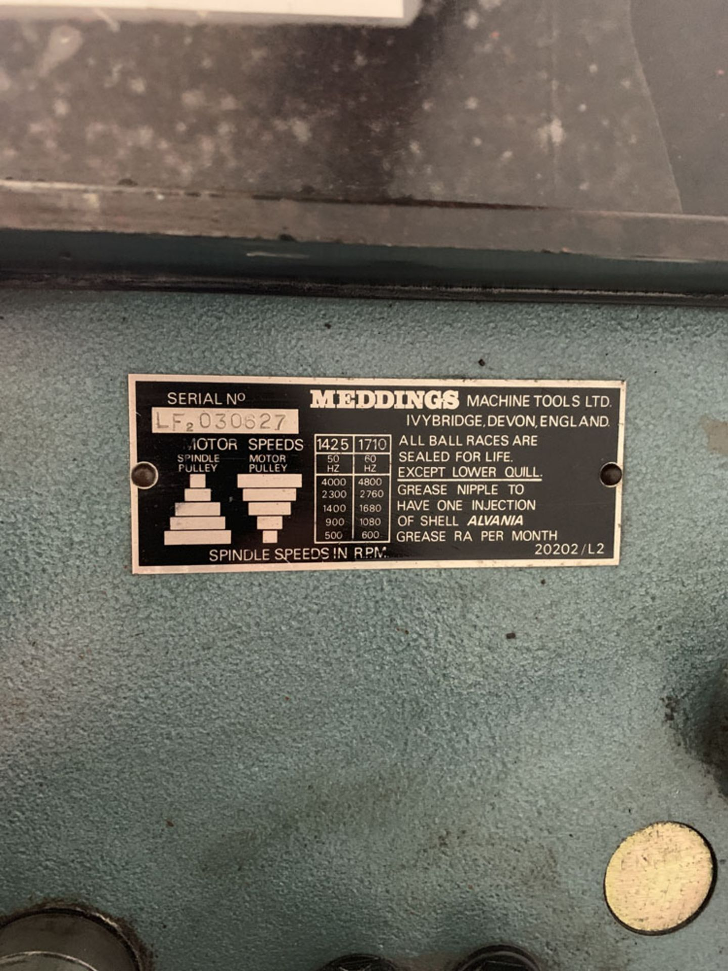 Lot 24 - Meddings LF2 Bench Drill. 3 Phase. Table Size 10'' x 10 1/2 ''.