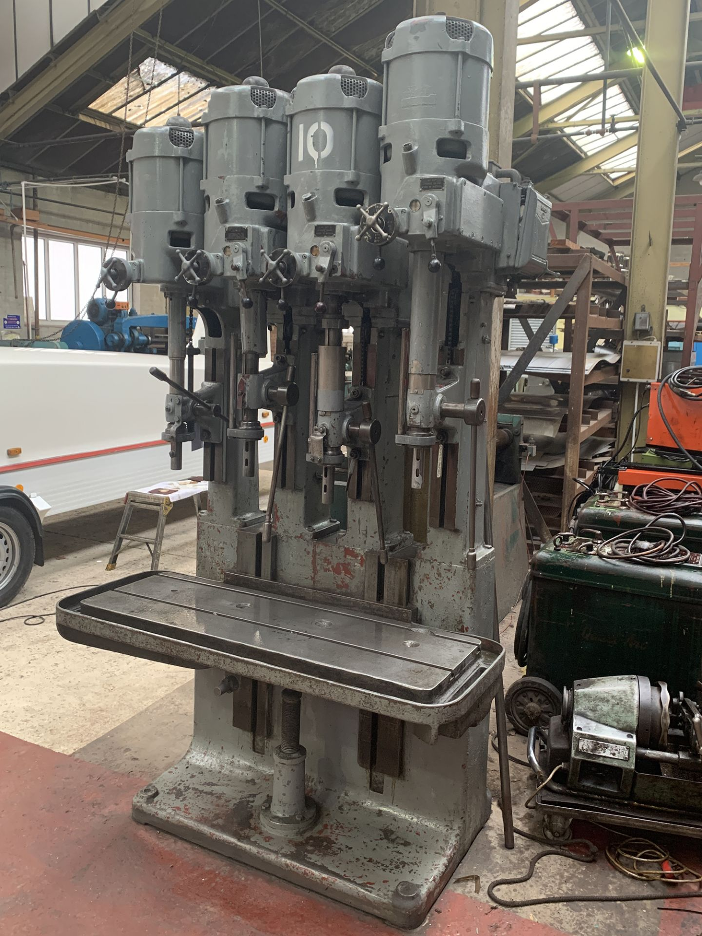 Lot 20 - Pollard 4 Spindle In-Line Bank of Drills. Table Size 15.1/2'' x 46''.