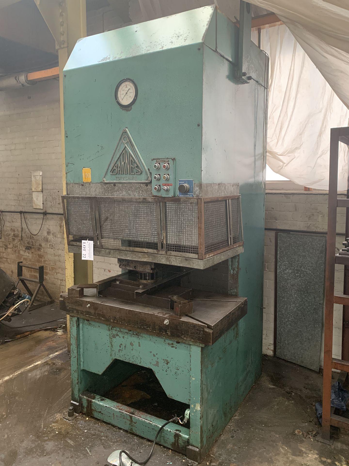 Lot 22 - Barnes Hydraulic Press. 100 Ton Capacity. 24'' x 48'' Platen Size.