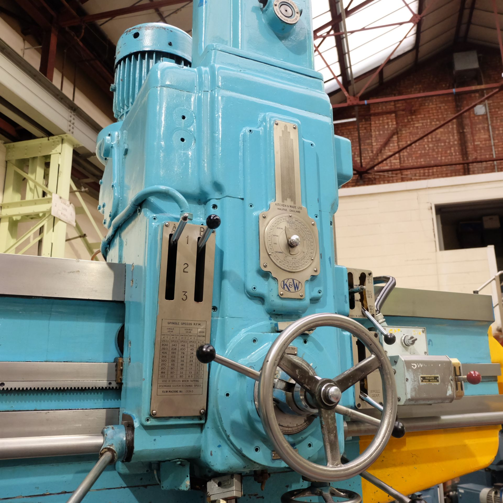"Lot 30 - Kitchen & Wade Type E27 6' Radial Arm Drill. Arm Radius 72""."