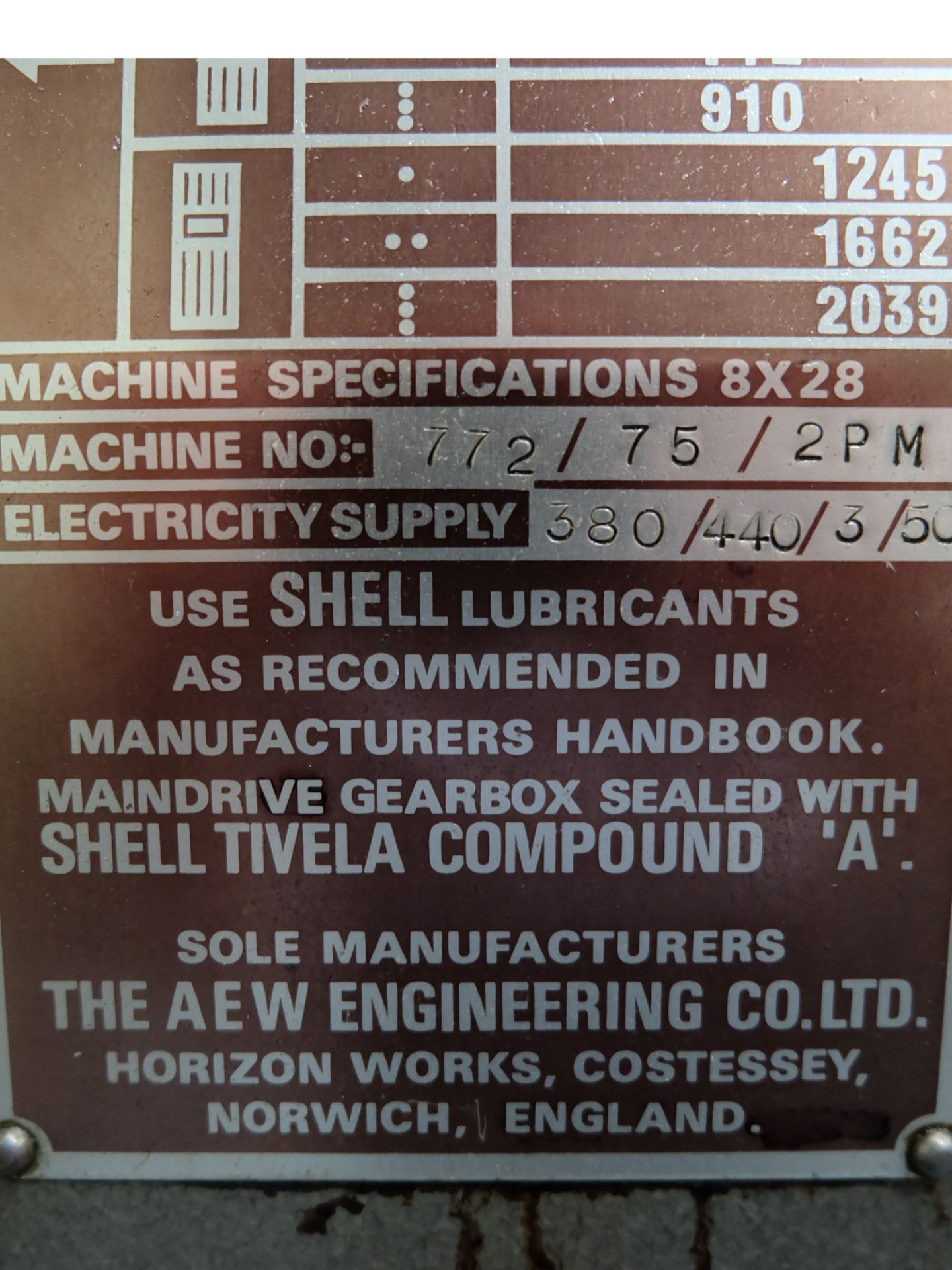 Lot 27 - Veceroy AEW: Horizontal Milling Machine.