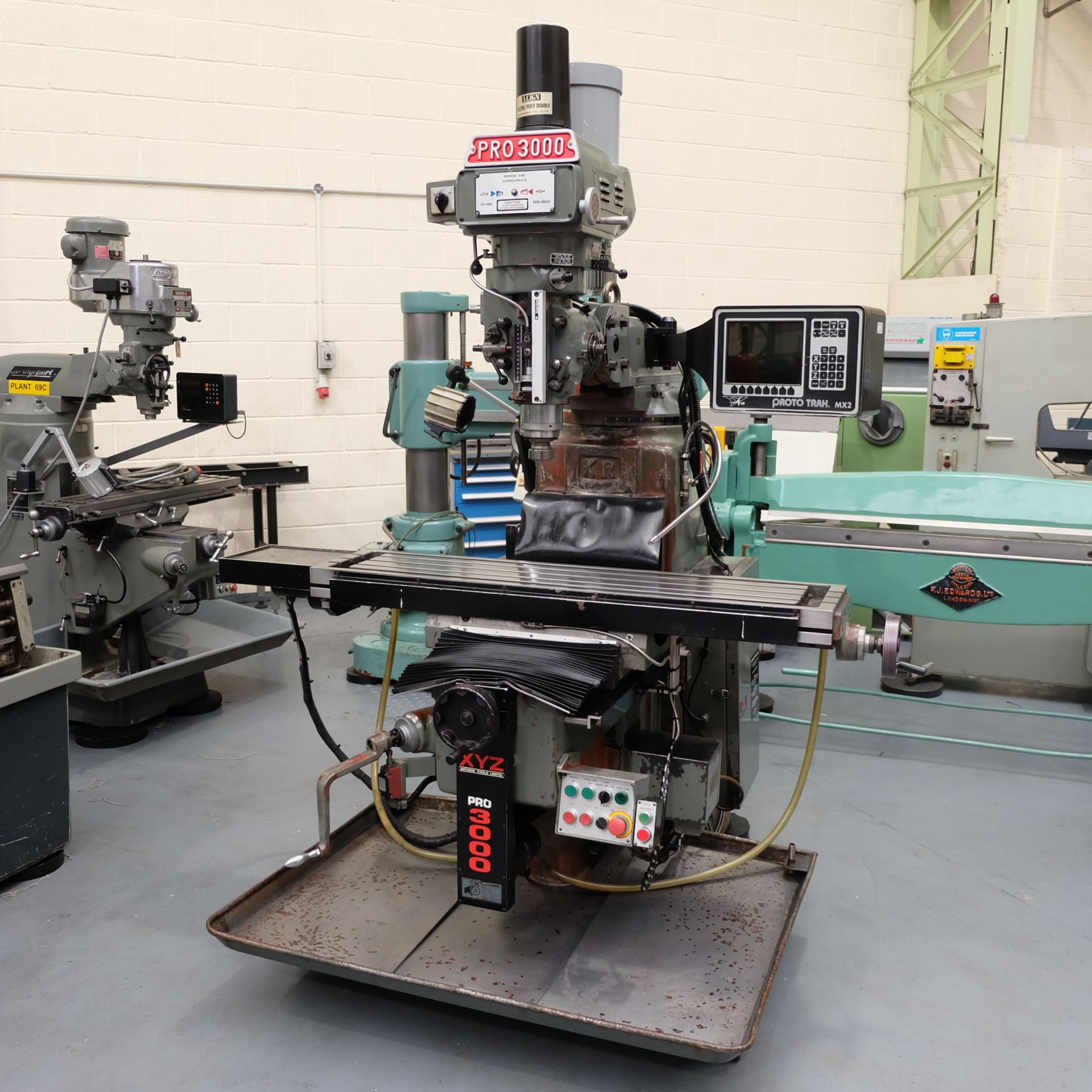 XYZ Pro3000: Turret Mill. With Prototrak MX2 Two Axis Programmable Control.
