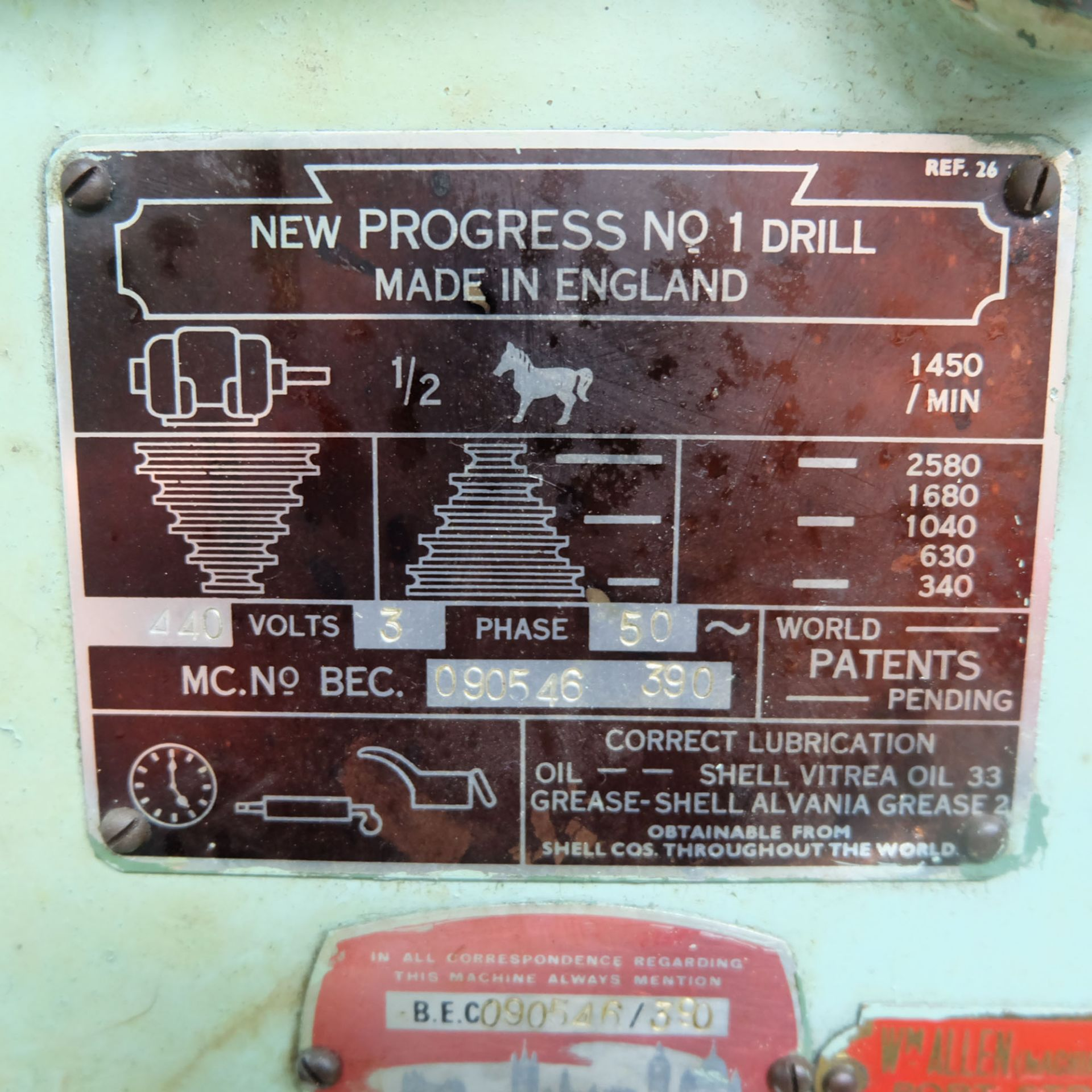 """Elliot Progress No.1 Bench Drill. 1/2"""" Drilling Capacity. Spindle Speeds: 340-2580rpm. - Image 4 of 4"""