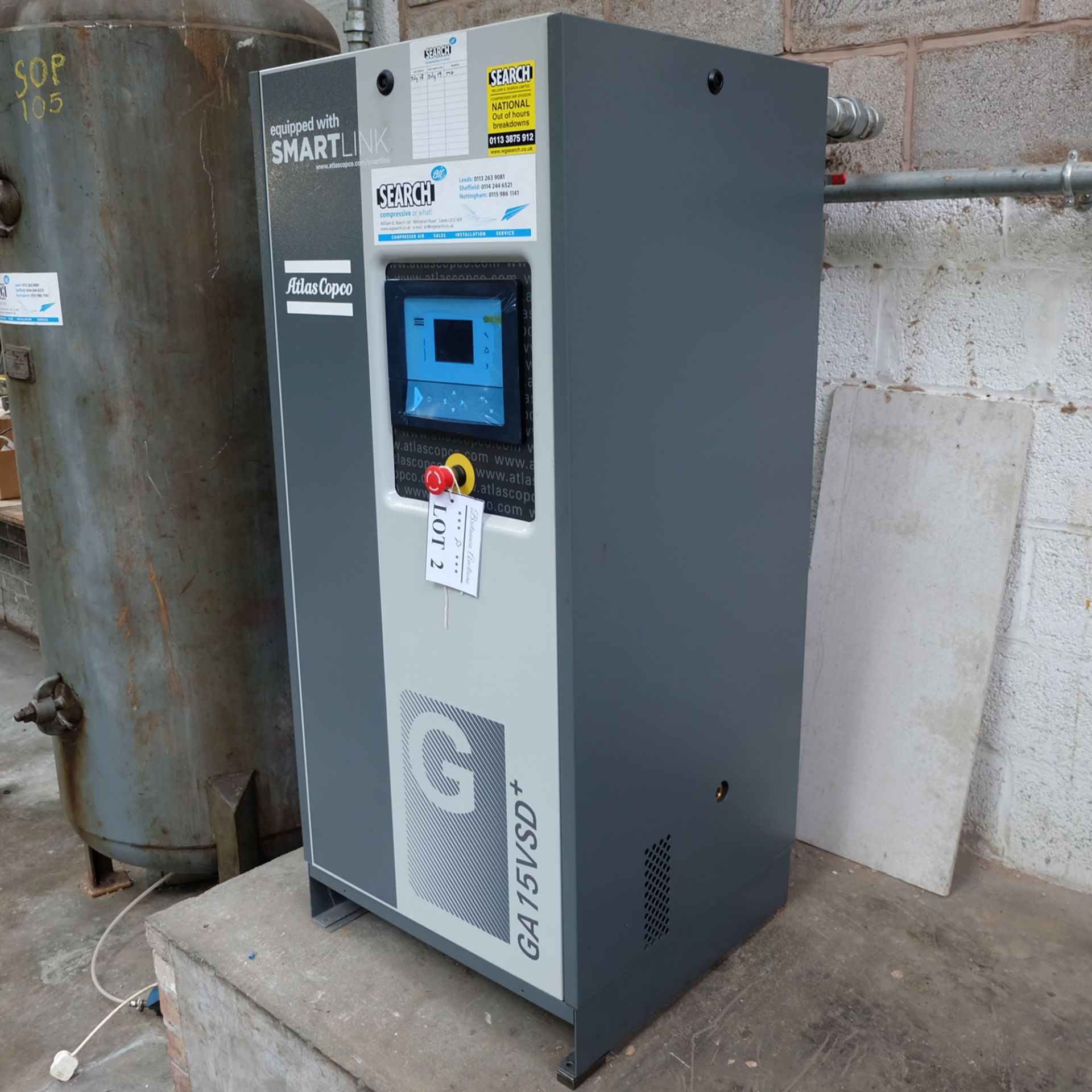 Atlas Copco Model GA 15 VSD + Variable Speed Oil Injected Screw Compressor. 15 kW Motor - Image 2 of 5
