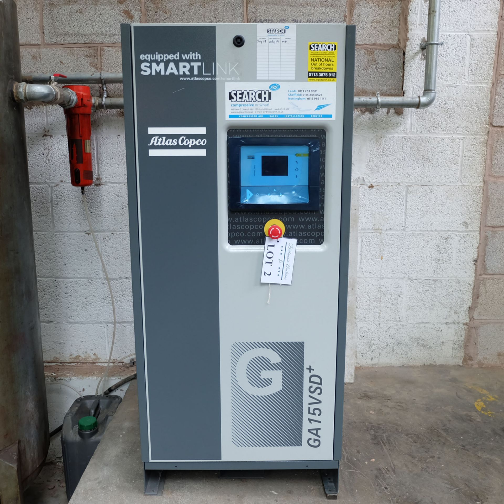 Atlas Copco Model GA 15 VSD + Variable Speed Oil Injected Screw Compressor. 15 kW Motor