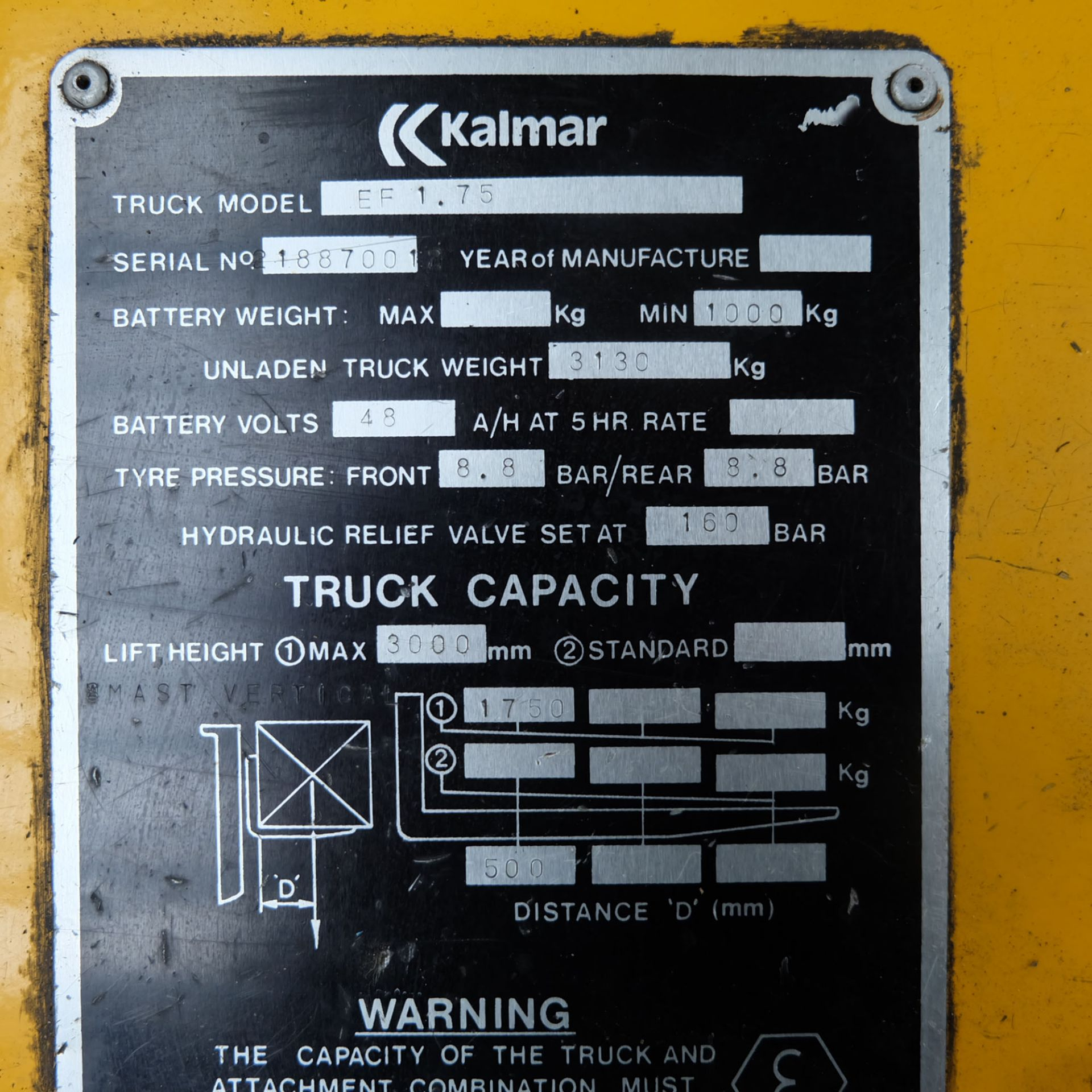 Kalmar Model EF 1.75. Electric Fork Lift Truck With Battery Charger - Image 7 of 10