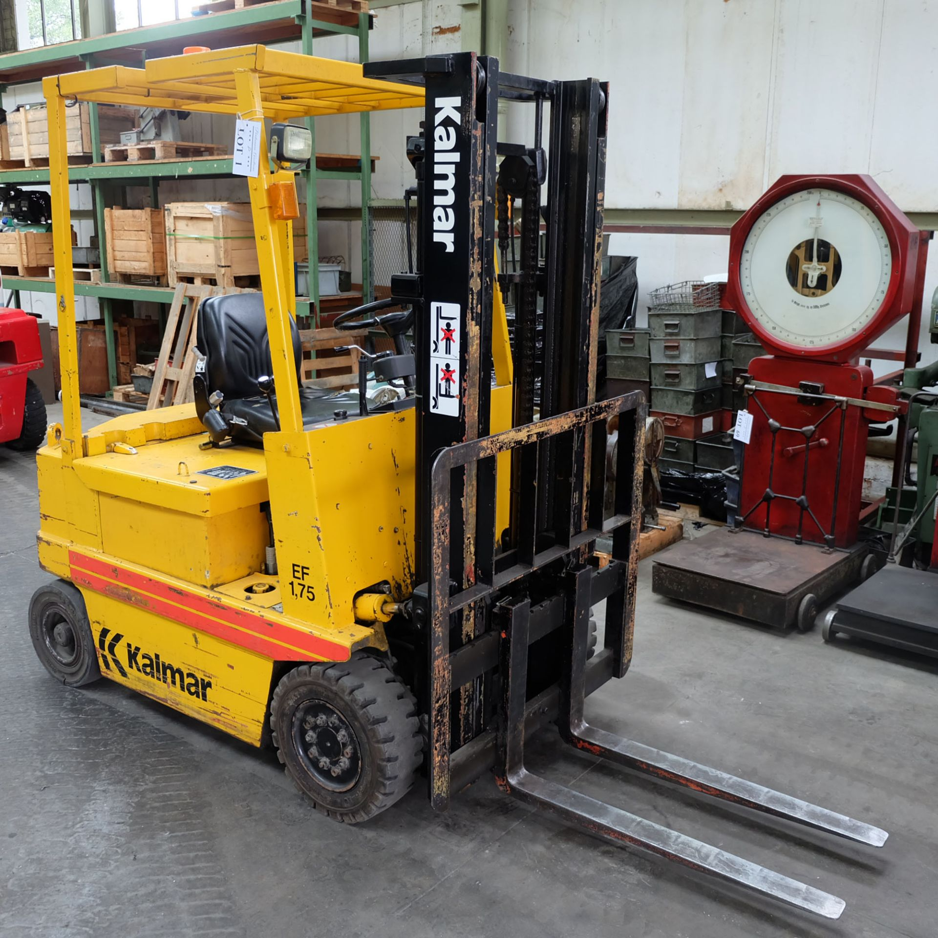 Kalmar Model EF 1.75. Electric Fork Lift Truck With Battery Charger