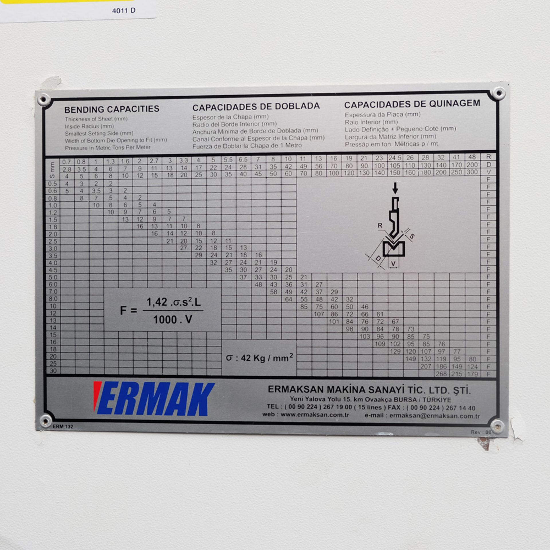 Ermak AP3120 Hydraulic Downstroke Press Brake. Capacity 3100mm x 6mm. Bending Force 120 Ton. - Image 9 of 14