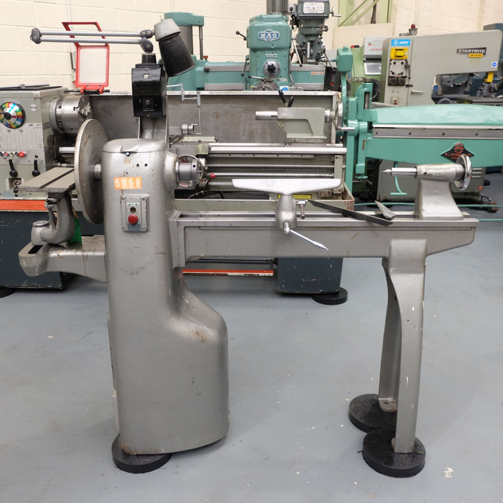 "Union Graduate Pedestal Wood Turning Lathe. Distance Between Centres 30"". Swing Over Bed 12""."