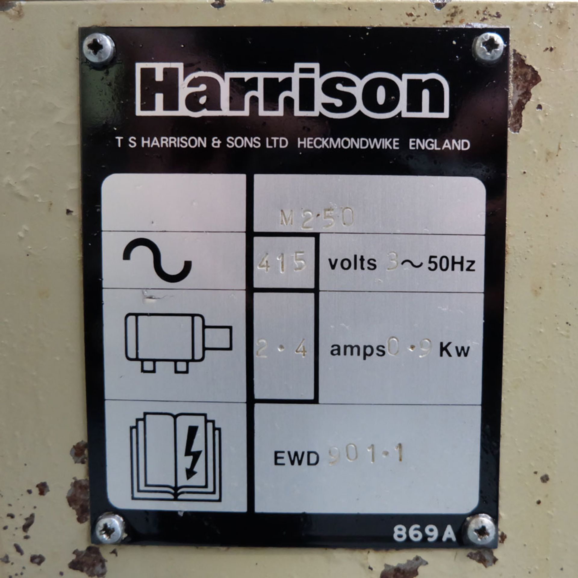 """Harrison M250 Tool Room Centre Lathe. Swing Over Bed 13"""". Distance Between Centres 30"""". - Image 10 of 14"""