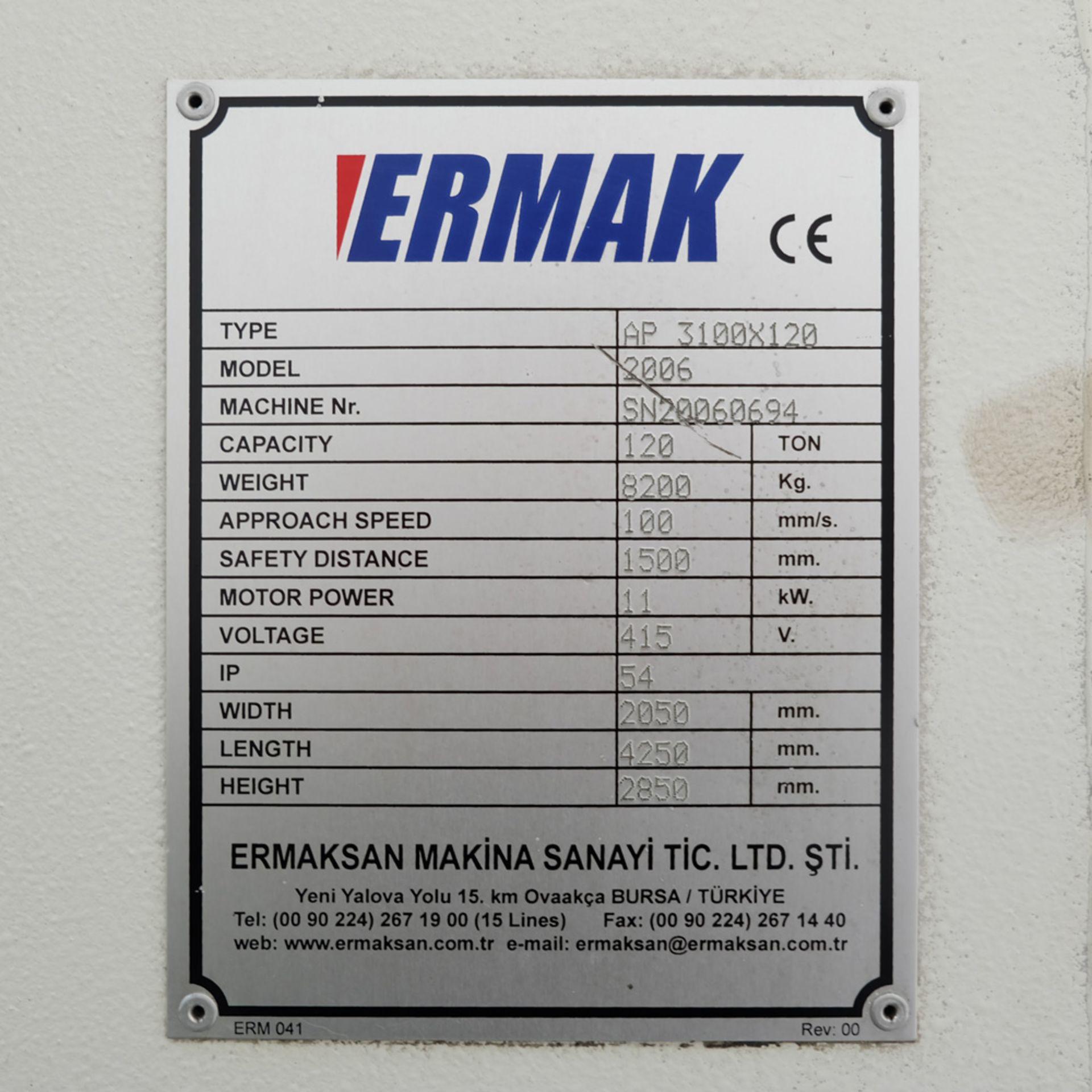 Ermak AP3120 Hydraulic Downstroke Press Brake. Capacity 3100mm x 6mm. Bending Force 120 Ton. - Image 14 of 14