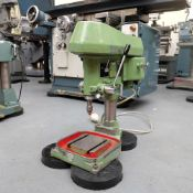 """Flott Type TB6 High Speed Bench Drill. Throat 6 1/2"""". Tee Slotted Base 6 3/4"""" Square."""