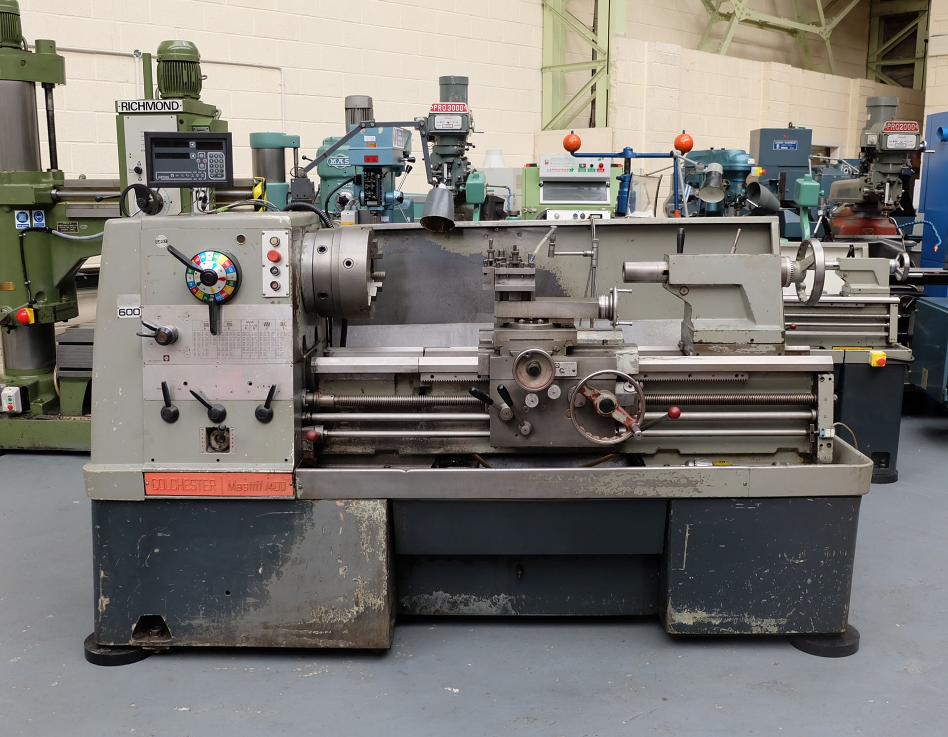 "Colchester Mastiff 1400 Gap Bed Centre Lathe. 21"" Swing Over Bed. 40"" Distance Between Centres."