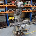 "Bridgeport 2HP Vari-Speed Head Turret Mill. Table Size 42"" x 9"". Spindle Taper R8."