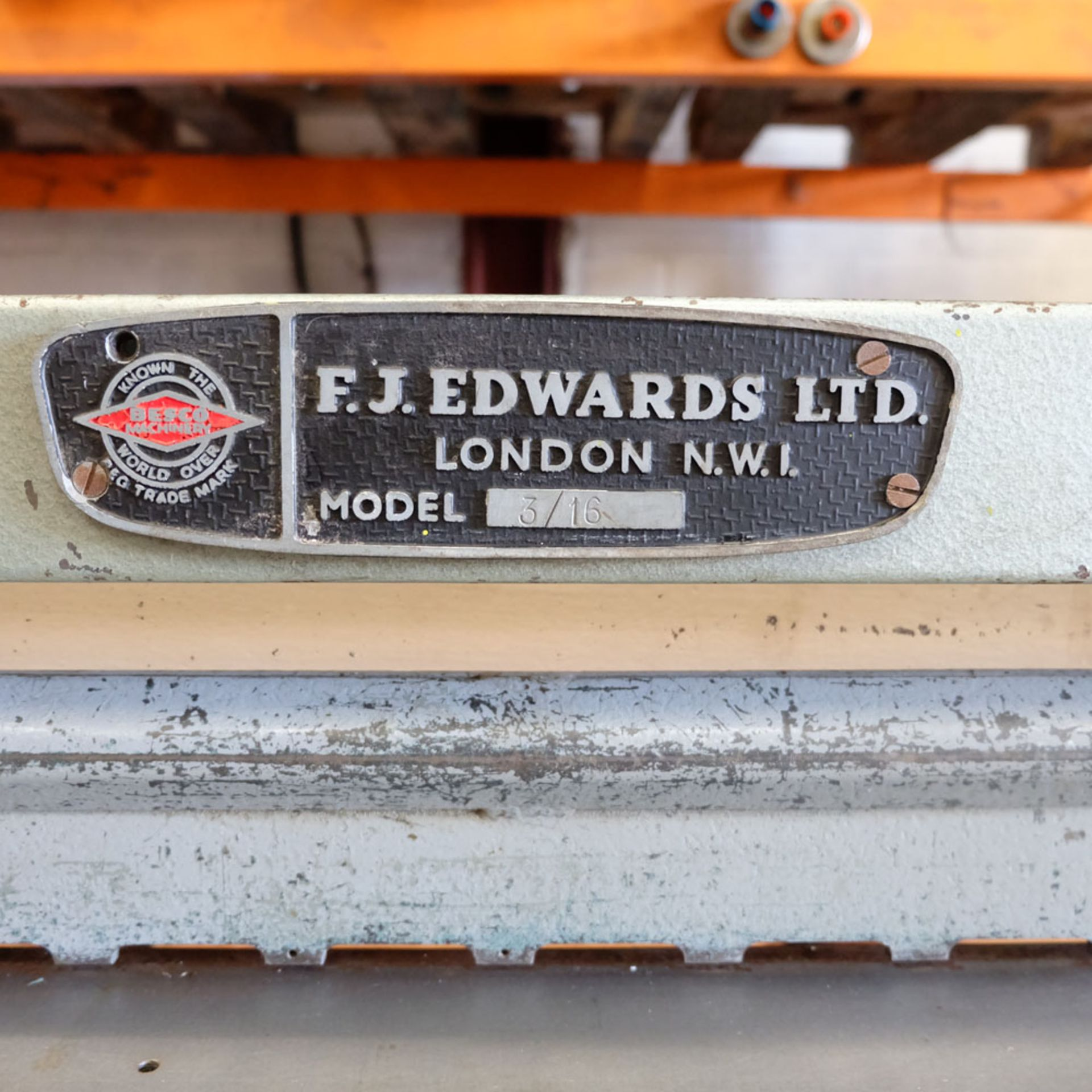 "Edwards Treadle Guillotine 3ft x 16swg. Capacity 36"" x 16swg. Back Gauge. Front Supports. - Image 3 of 8"