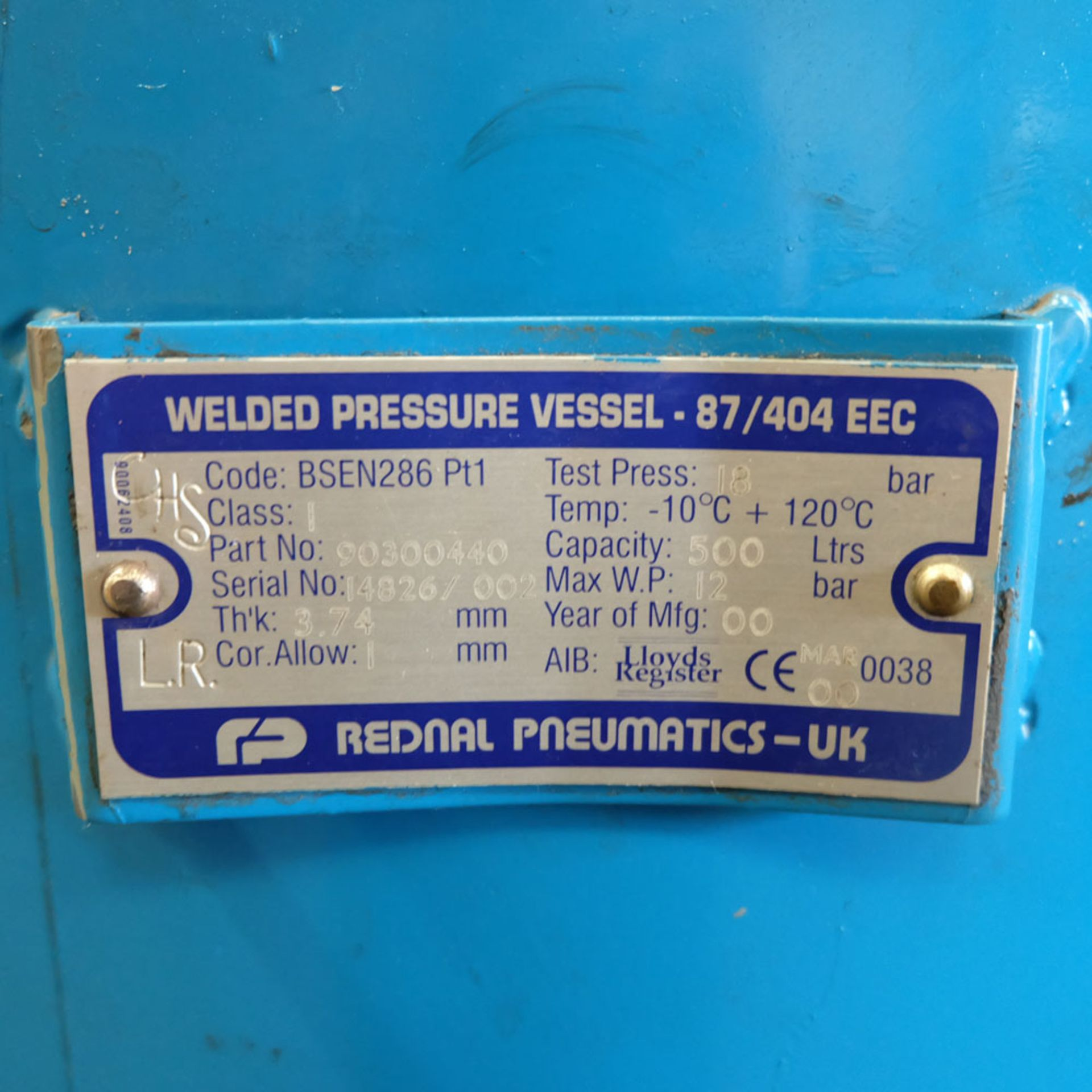 Power Systems PS15P - Rotary Air Compressor with 500L Receiver. Pressure 8 Bar. Capacity 80 cfm. - Image 8 of 8