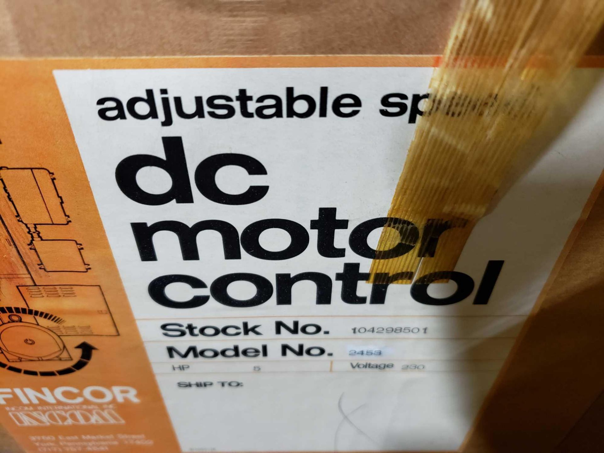 Lot 1 - Fincor DC motor control model 2450 MKII part number 2453, 5hp 230v. New in box.