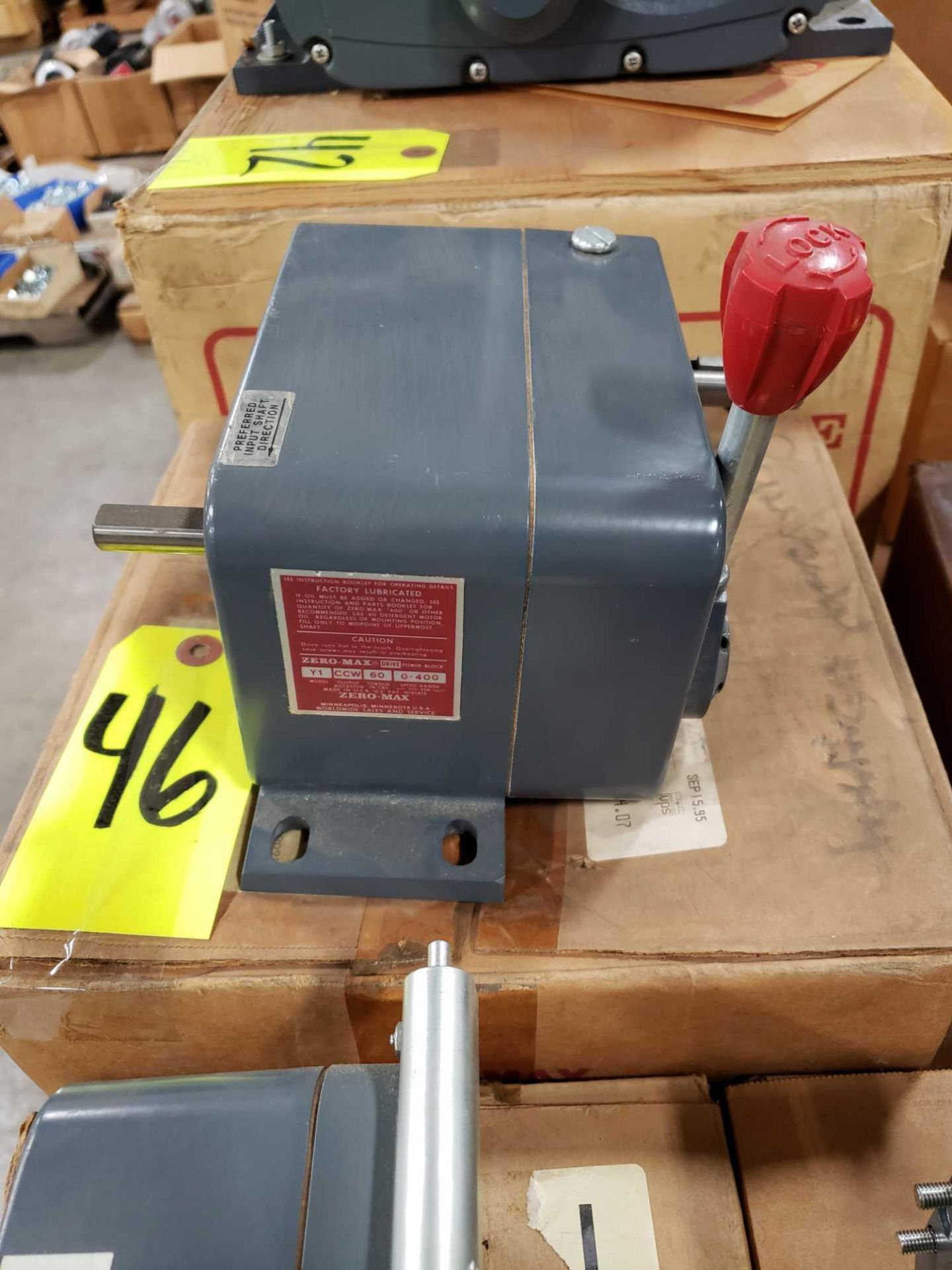 Lot 46 - Zero-max drive power block model Y1, CCW output rotation, 60lb torque, 0-400 speed range. New.