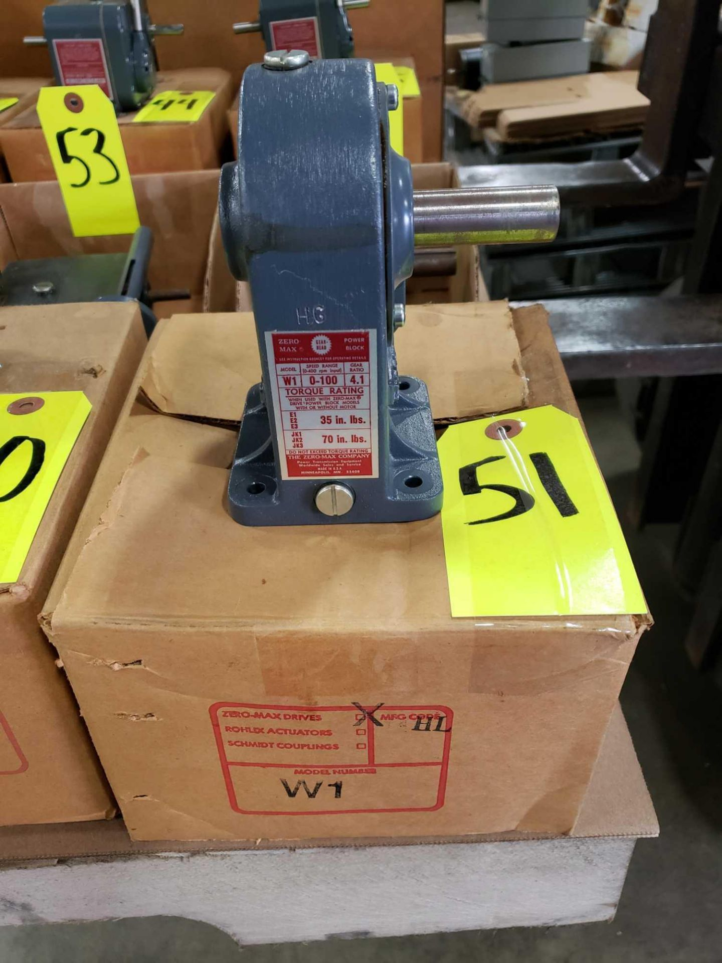 Lot 51 - Zero-max gearhead power block model W1 speed range 0-100, gear ratio 4:1. New in box.
